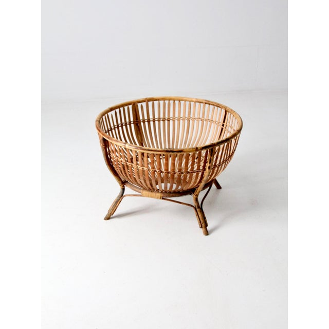 Mid-Century Rattan Basket For Sale - Image 4 of 13