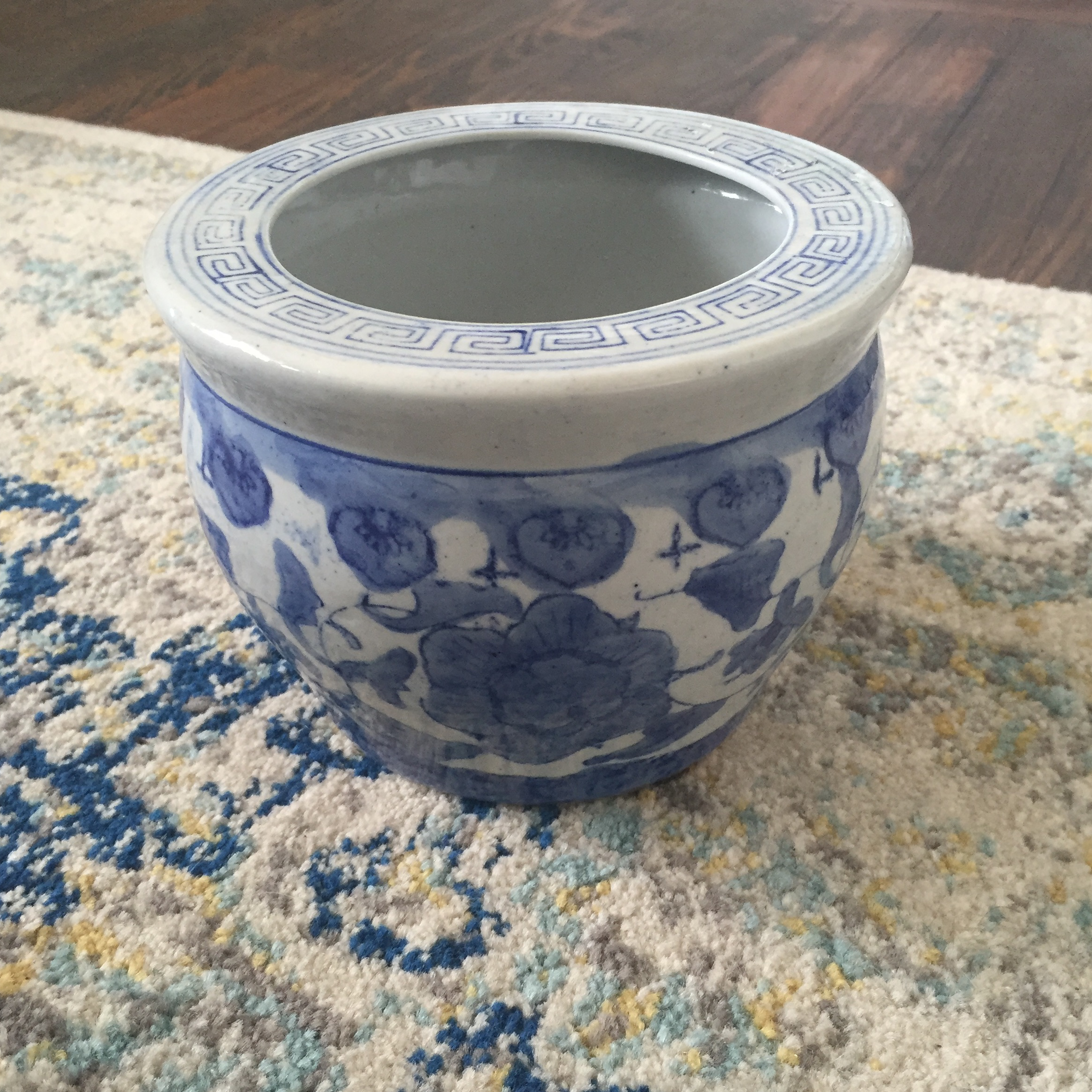 Chinoiserie Blue And White Orchid Fishbowl Planter Chairish
