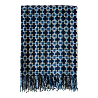 Paulette Rollo Lambswool Woven Basket Weave Throw For Sale