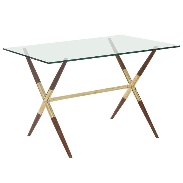 Wood Tapered Walnut and Polished Brass Italian Occasional Table For Sale - Image 7 of 7