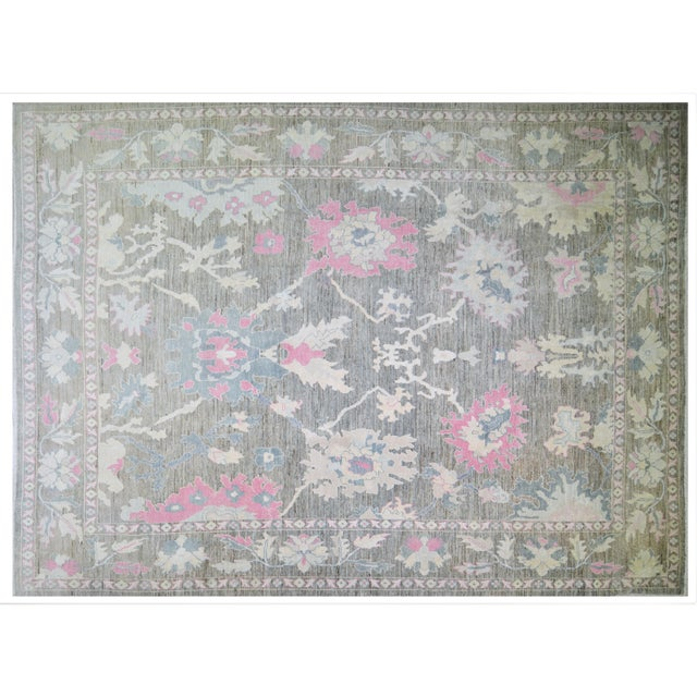 """1960s Turkish Hand Woven Angora Oushak Rug With Allover Design and Silky Soft Texture,9'10""""x13'6"""" For Sale - Image 5 of 5"""