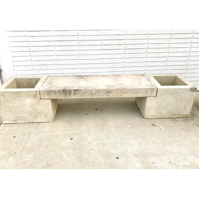 1960s Mid Century Modern Concrete Planter Bench For Sale - Image 5 of 7
