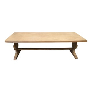 Spanish Bleached Elm Dining Table With Trestle Base For Sale