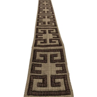 "Kravet Modern Olive and Brown Greek Key 2.25"" Band Fabric Trim - 8 Yards For Sale"