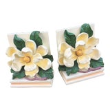 Image of Vintage Magnolia Blossom Bookends - A Pair For Sale
