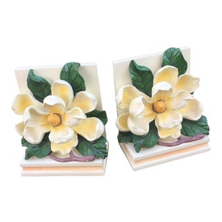 Vintage Magnolia Blossom Bookends - A Pair For Sale