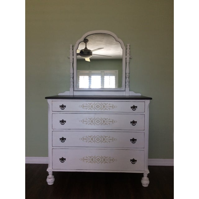 Vintage Hand Painted Mirrored Dresser - Image 2 of 7