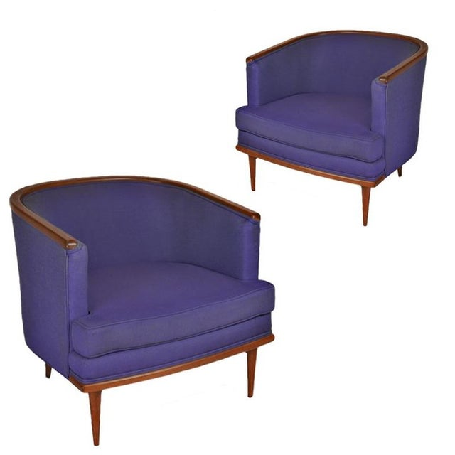 Pair of Milo Baughman Barrel Back Lounge Chairs With Walnut Detail For Sale - Image 13 of 13