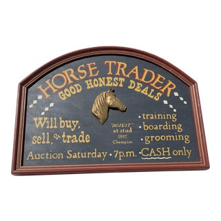 Handpainted Equestrian Sign: Horse Trader For Sale