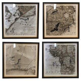 World Map With Animals Pen and Ink Drawings - Set of 4 For Sale