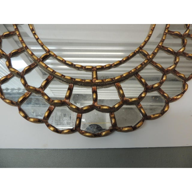 Hollywood Regency Vintage Large Oval Gold Leaf Peruvian Mirror With Scalloped Edges For Sale - Image 3 of 8