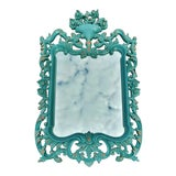 Image of Vintage Mid-Century Modern Teal Painted Carved Wood Mirror For Sale