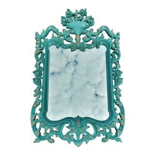 Vintage Mid-Century Modern Teal Painted Carved Wood Mirror For Sale