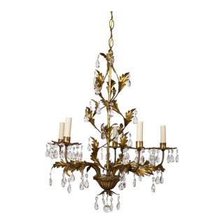 Italian Five Light Gold Leaf Chandelier With Crystals For Sale