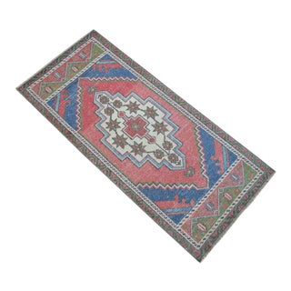 Distressed Low Pile Turkish Rug Hand Knotted Small Rug Faded Mat - 1′8″ × 3′7″ For Sale