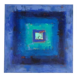 Abstract Blue Geometric Painting