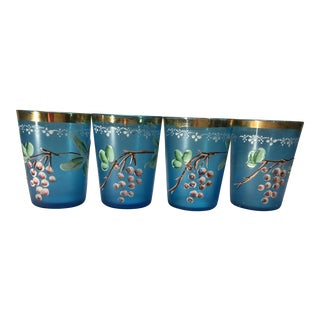 Vintage Mid-Century Modern Blue Hand-Painted Glasses - Set of 4 For Sale