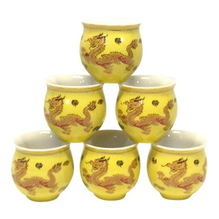 Midcentury Japanese Dragon Tea Cups For Sale