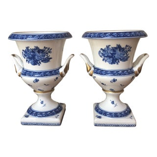 Chelsea House Blue and White Porcelain Urns-a Pair For Sale