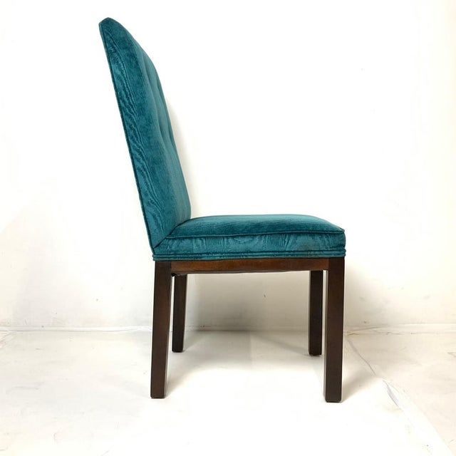 John Widdicomb Tufted Textured Velvet Parsons Dining and Armchairs - Set of 6 For Sale - Image 10 of 13