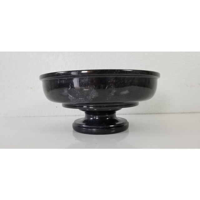 Up for sale is a beautiful vintage Black carved Marble Decorative Pedestal Bowl. Unsigned. In excellent condition with...