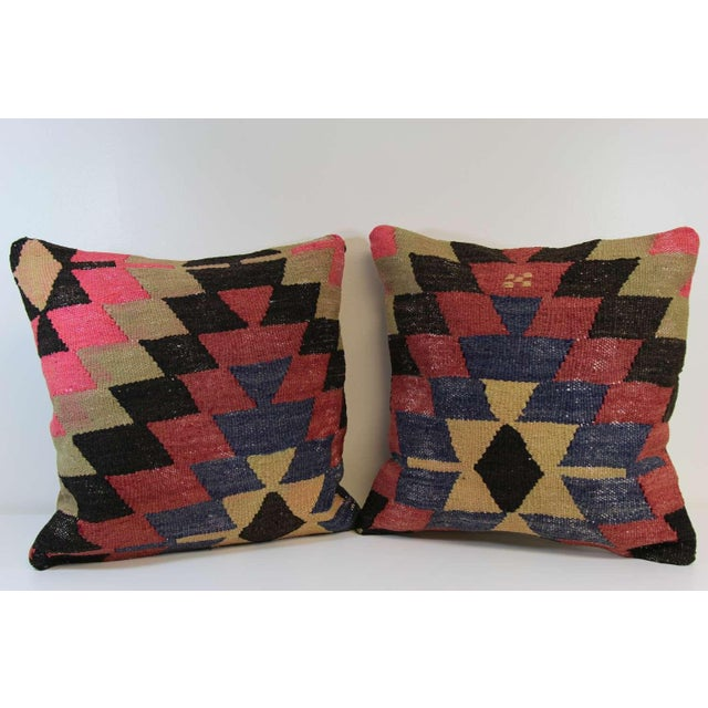 Kilim Pillow Covers - A Pair - Image 2 of 6