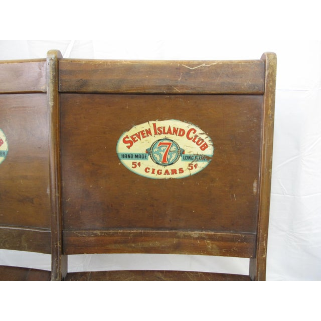 Americana Pre War Seven Island Club Cigars Folding Double Bench For Sale - Image 3 of 9