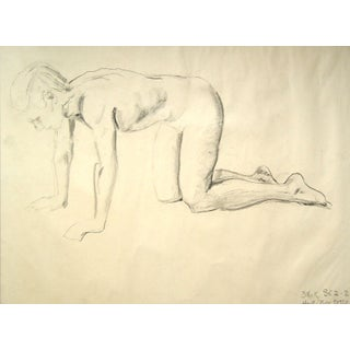 Charcoal Figural Study Drawing, 1950 For Sale
