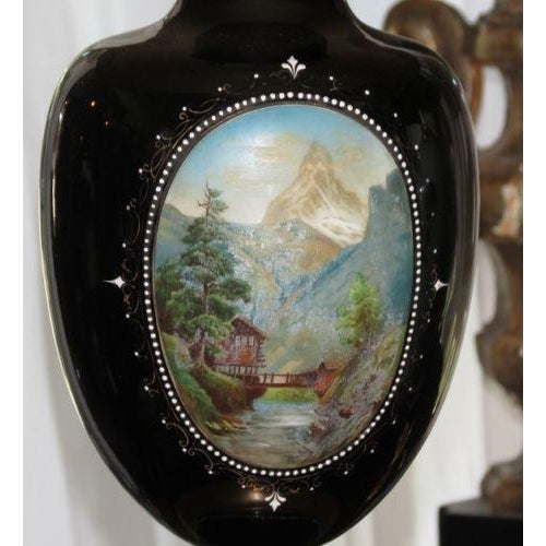 Antique Moser Hand-Painted Glass Vase Lamp - Image 5 of 5