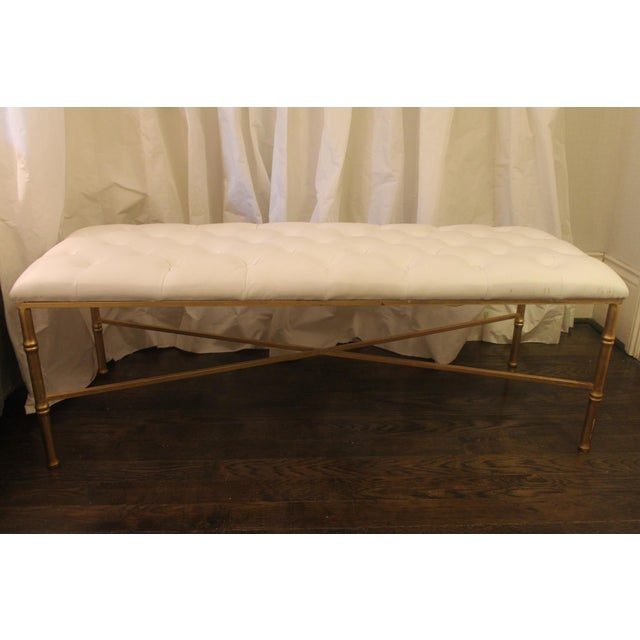 I love this worlds-away gold bamboo bench with a faux leather buttoned top. This is the perfect bench for at the end of...