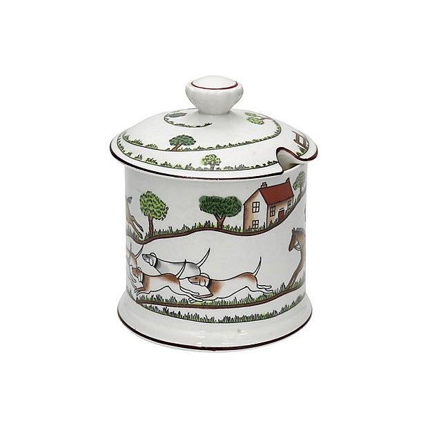 "Crown Staffordshire porcelain ""Hunting Scene"" pattern jam pot. Maker's mark on underside. Light wear."