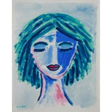 Image of Abstract Fauvist Face Painting by Cleo Plowden For Sale