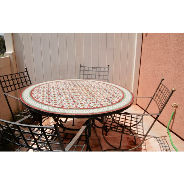 """Moroccan Zellij Red, Green, Yellow and White Mosaic Tile 52"""" Round Table & 4 Wrought Iron Arm Chairs For Sale - Image 11 of 13"""