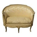 Image of Antique French Provincial Louis XVI Gold Off White Settee Loveseat For Sale