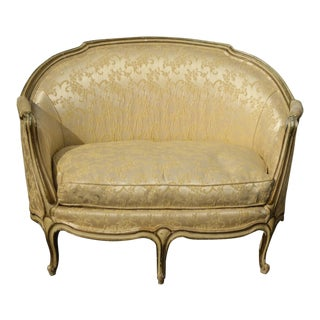 Antique French Provincial Louis XVI Gold Off White Settee Loveseat