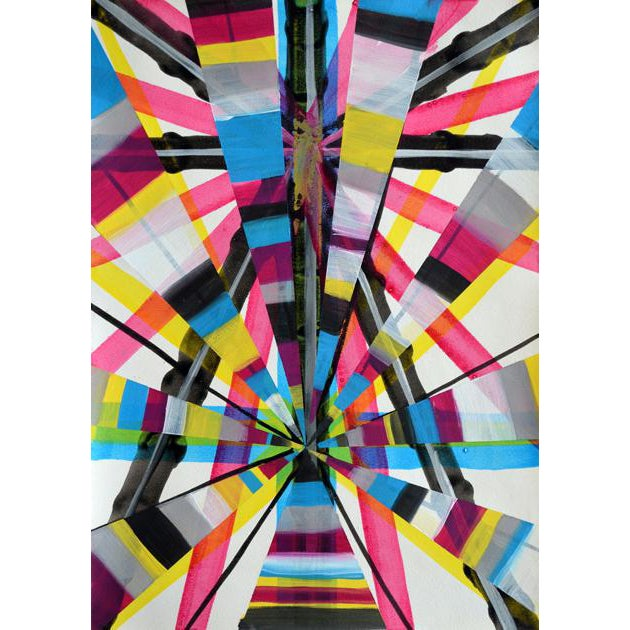 """Original Abstract Mid-Century Modern """"Neon Electric"""" Painting For Sale"""