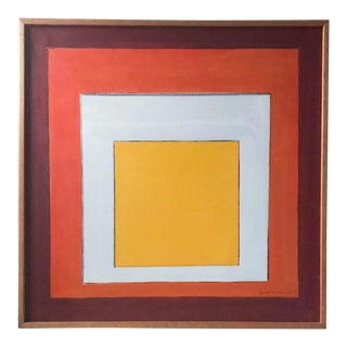 Large Mid Century Signed Abstract Painting - Squares 1975