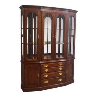 Henkel Harris Cherry 2 Pc Breakfront China Cabinet For Sale