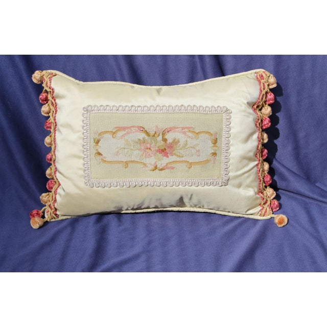 19th C. French Aubusson Silk Pillow For Sale - Image 4 of 4