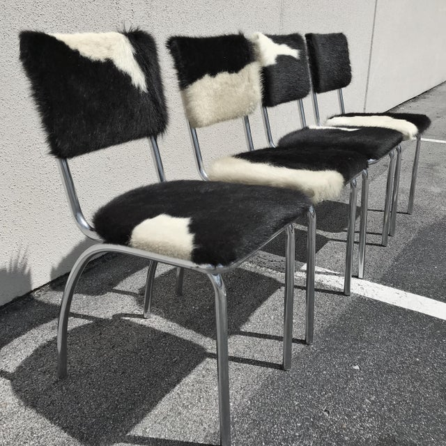 Folk Art Cowhide Upholstered Chrome Chairs - Set of 4 For Sale - Image 3 of 11