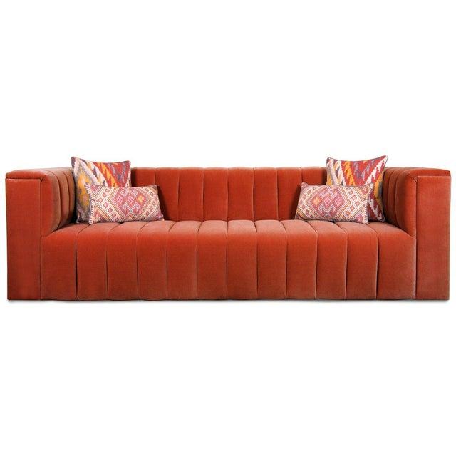 Contemporary Monaco Sofa in Paprika Velvet For Sale - Image 3 of 4