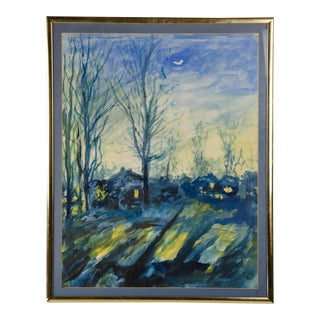 Evening Landscape Watercolor Painting by Samuel Rothbort For Sale