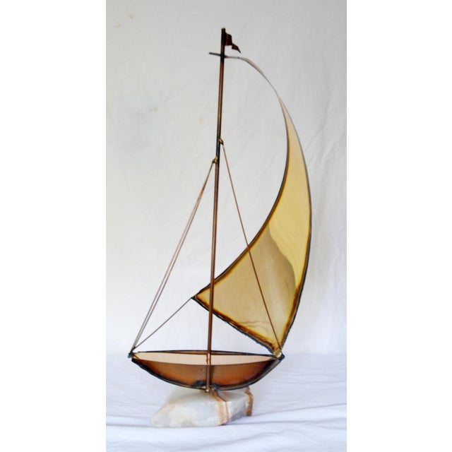Vintage Metal and Onyx Sailboat Tabletop Sculpture For Sale - Image 4 of 5