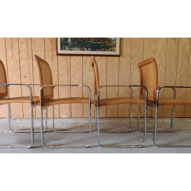 Vintage Modern Berkey Flat Chrome and Cane Dining Chairs - Set of 4 For Sale In Baltimore - Image 6 of 13