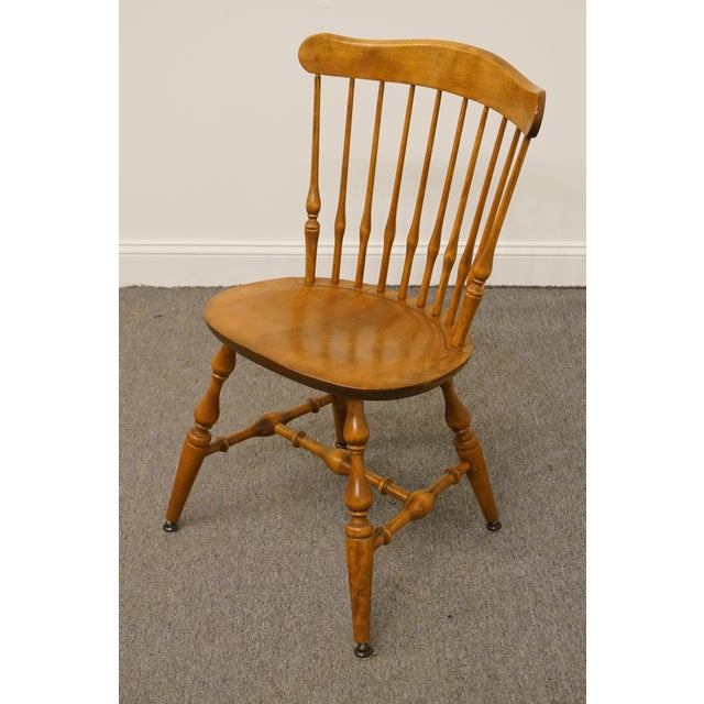 Nichols & Stone Late 20th Century Vintage Nichols & Stone Solid Maple Spindle Back Dining Side Chair For Sale - Image 4 of 10