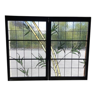 Modern Green Leaded Glass Windows - a Pair For Sale