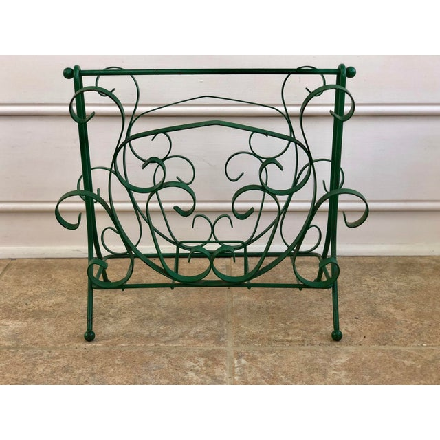 Mid-Century Modern Green Wrought Iron Magazine Rack For Sale - Image 9 of 10
