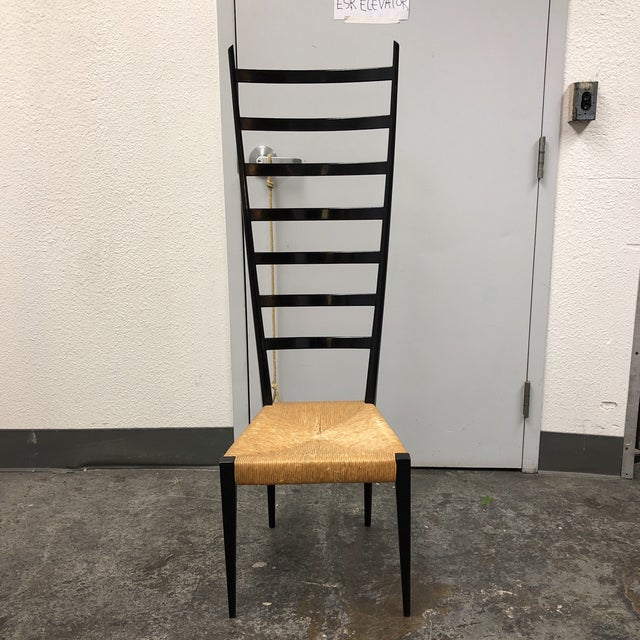 Mid-Century Italian Wood Ladder and Rushed Seat Chair For Sale - Image 10 of 10