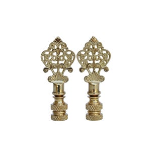 Small Fancy Brass Lamp Finials - a Pair