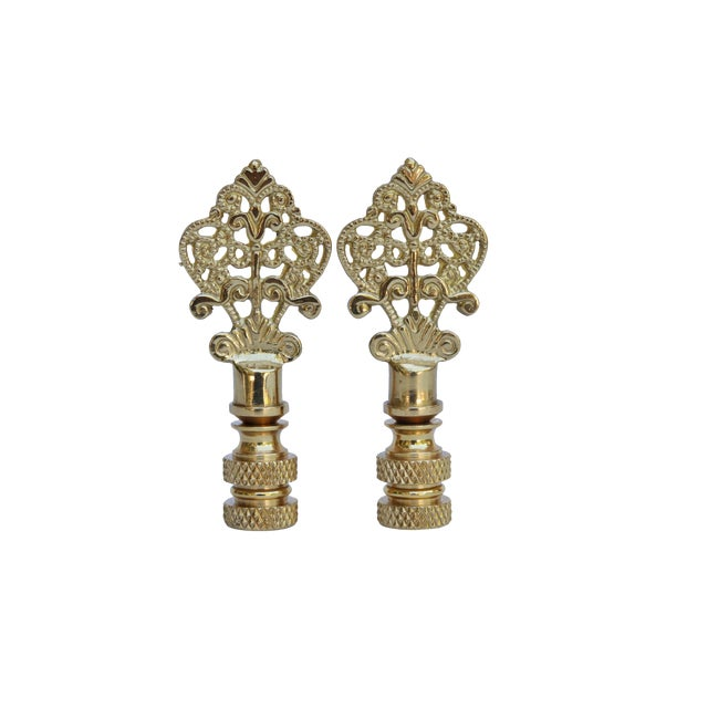 Small Fancy Brass Lamp Finials - a Pair For Sale